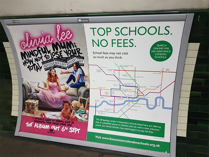 LFAC 'Top Schools. No Fees.' campaign in a tube station