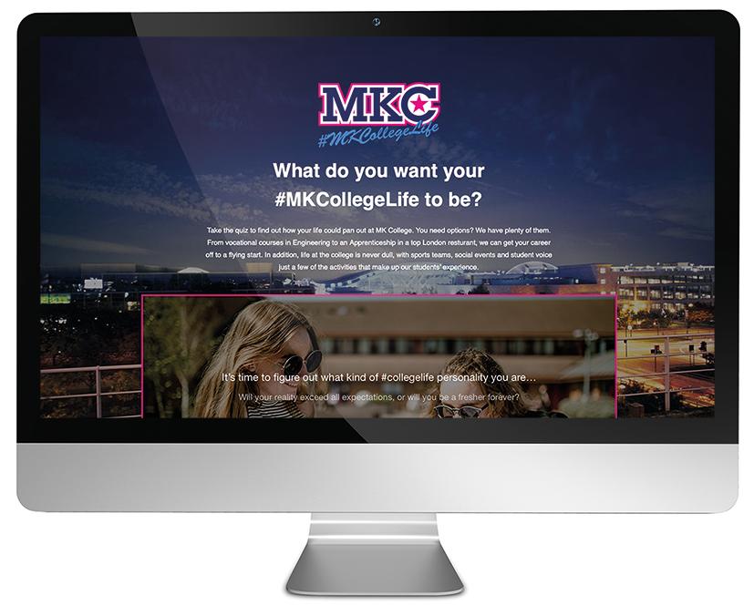 #MKCollegeLife landing page shown on a desktop