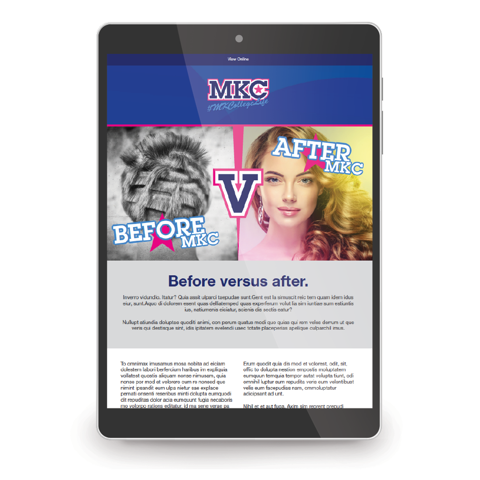 'Before MKC After MKC' email campaign shown on a tablet