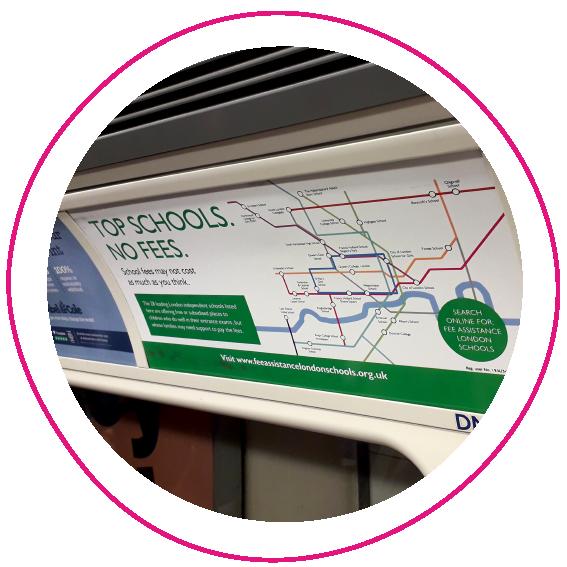 LFAC 'Top Schools. No Fees.' campaign on a tube train
