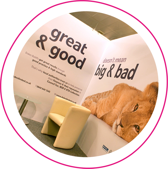 Exhibition stand created by WSA with the slogan 'great and good doesn't mean big and bad' accompanied by an image of a lion