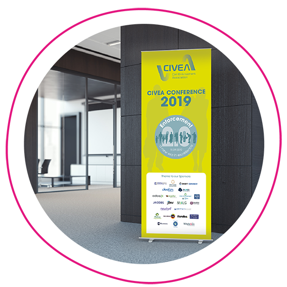 Pop up banner at the CIVEA Conference 2019