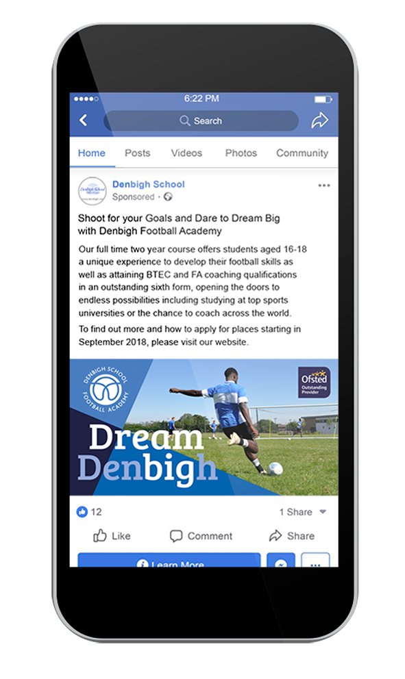 Dream Denbigh Facebook campaign on a phone