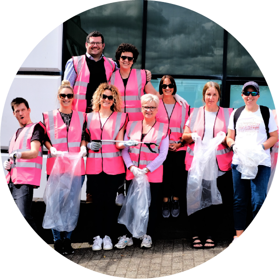 Members of WSA staff going out at lunchtime to do a litter pick around the local area