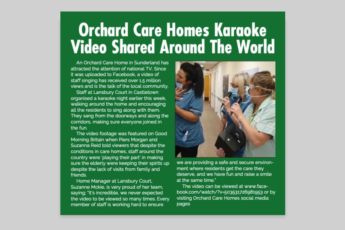 Orchard Care Homes karaoke video shared around the world