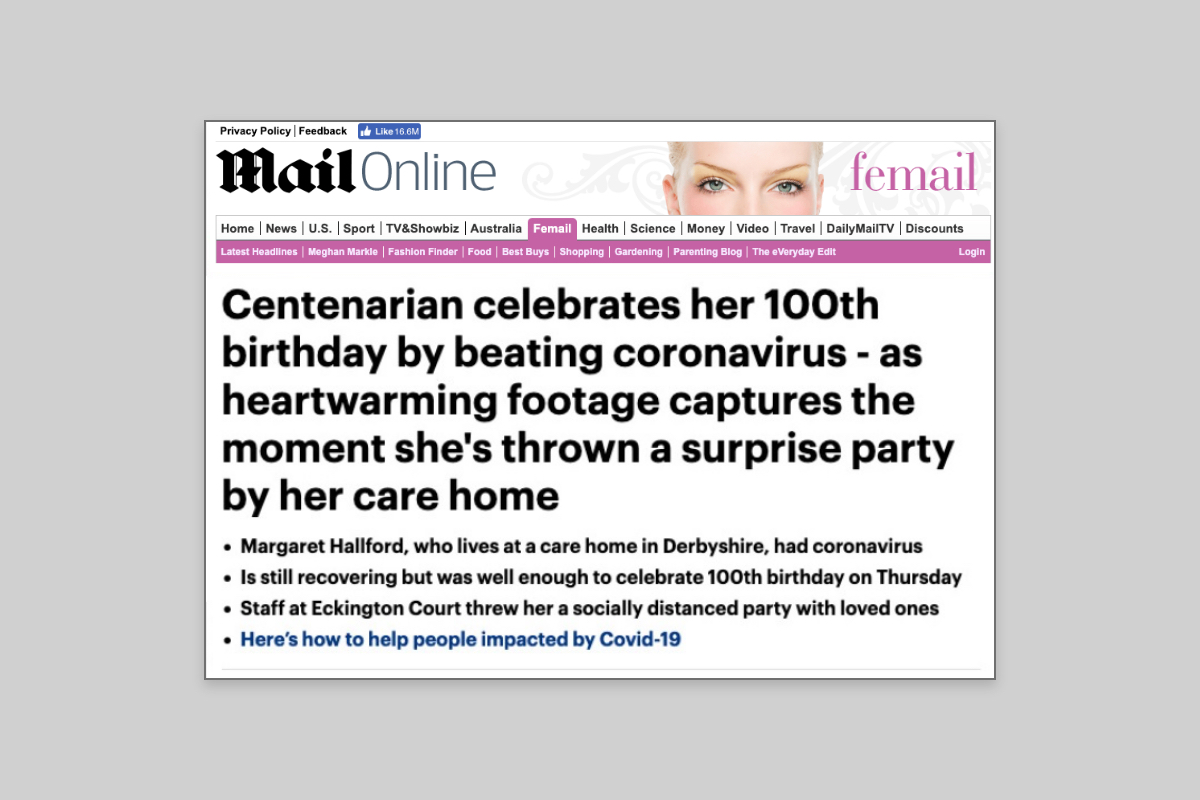 Centenarian celebrates her 100th birthday by beating coronavirus - as heartwarming footage captures the moment she's thrown a surprise party by her care home - Mail Online