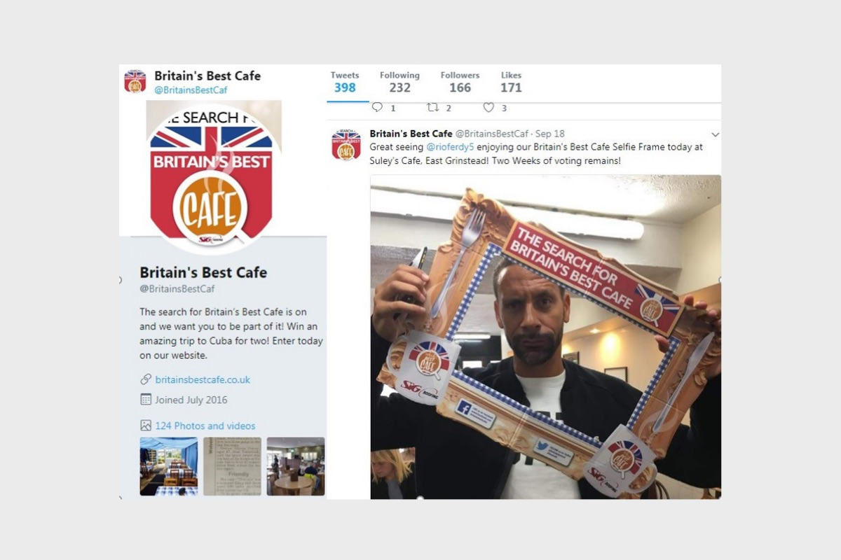 Twitter advert featuring footballer, Rio Ferdinand, holding the 'Britain's Best Cafe' selfie frame