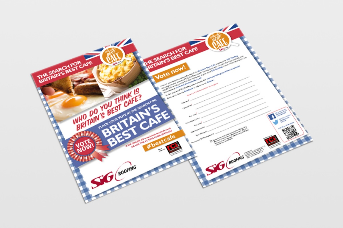 Leaflets for 'Britain's Best Cafe' promotion